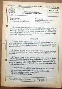 STARÁ NORMA ČSN 75 7212 1992 KONTROLA JAKOSTI VOD PITNÁ VODA NÁLEZ