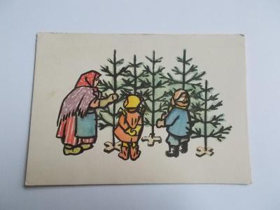 Svátek přání malíř Skála Vánoce zima Nový rok děti stromeček