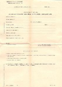 NEVYPLNĚNÝ TISKOPIS -ŽÁDOST O DÁVKY A SLUŽBY SOCIÁLNÍ PÉČE asi 70 léta