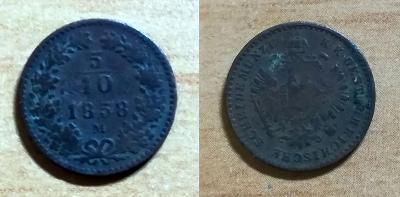 F.J.I. - 5/10 Kr 1858 M - MILÁN– VZÁCNÉ – SLUŠNÝ