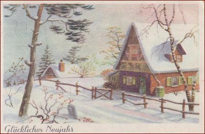 Nový rok * chalupa, zimní motiv, gratulační * M7006