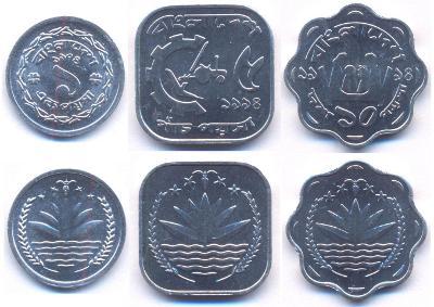 BANGLADÉŠ SADA MINCI 1 + 5 + 10 Poisha 1974-1994 3 ks UNC