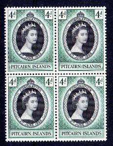Pitcairn Isl. 1953, známka korunovace, 4 blok, svěží