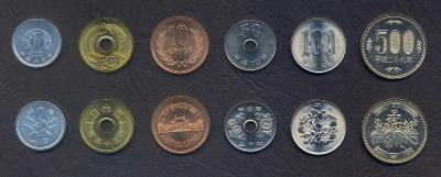 JAPONSKO KOMPLETNI SADA MINCI 1+5+10+50+100+500 Yen 1997-2017 6 ks UNC