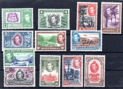 Britský Honduras 1938/47,kompl. serie výpl. známky,Jiří VI, svěží