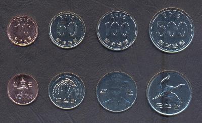 JIŽNÍ KOREA KOMPLETNÍ SADA MINCI 10+50+100+500 Won 2016-2019 4 ks UNC