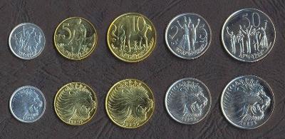 ETIOPIE KOMPLETNÍ SADA MINCI 1+5+10+25+50 Cents 1977-2008 5 ks UNC