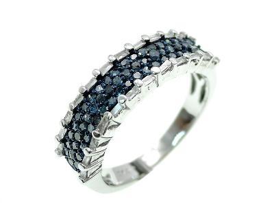 Prsten s modrými brilianty- 0,47Ct
