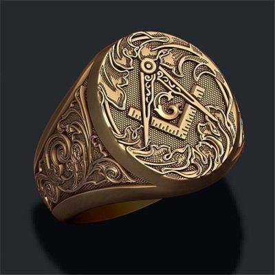 Prsten zednářský řád zlacený zednáři masonský templaři 20mm
