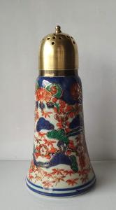 CUKŘENKA posýpací porcelán + kov barevná malovaná email značená modře
