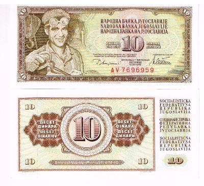Jugoslávie 10 dinara UNC / N
