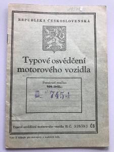 Doklady technický průkaz TP ČZ 125 T rok výroby 1948