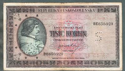 1000 kčs 1945 perforace S !!!!