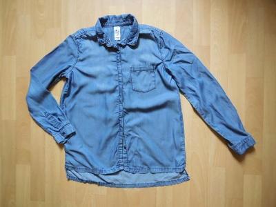dívčí C&A modrá košile, riflová, knoflíky, dl. ruk, 164-170/S