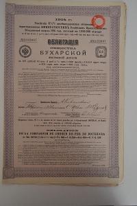 2)Obligace Rusko 4 ½%, železnice Buchara, 1914, kupony, daň. razítko