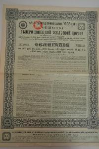 Obligace Rusko 4 ½%, železnice Severo – Doněcká, 1908, kupon, daň. raz