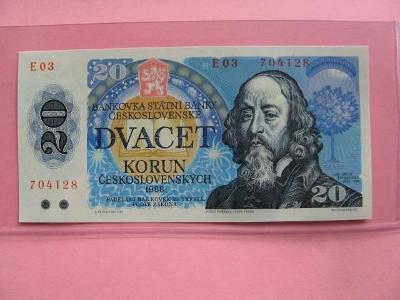Vzácná bankovka 20 Kčs 1988, UNC stav, série E 03 !!!