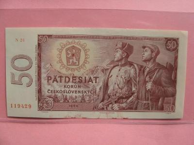 Vzácná bankovka 50 Kčs 1964, UNC stav, série N 24 !!!