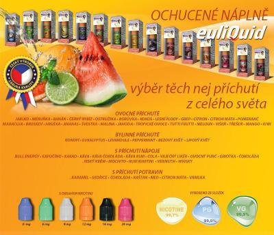10 X 3 pack e-liquid EULIQUID Český produkt