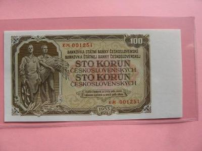 100 Kčs 1953, série KM, UNC stav !!!