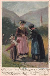 Žena * děti, deštník, hory, krajina, alpský motiv, umělecká * M4768