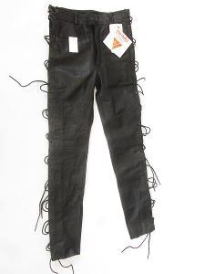 Kožené kalhoty šněrovací MODEKA- vel. XS, pas: 74 cm