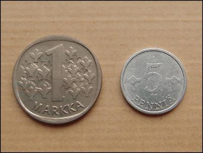 FINSKO: 1 MARKKA 1987 M, 5 PENNIÄ 1986