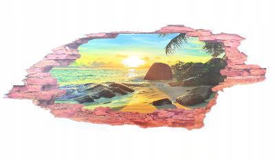 3d samolepka tapeta na zeď - Pláž v západu slunce AUKCE od 1 kč B
