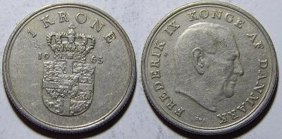 Dánsko 1 Krone 1965 XF č12175