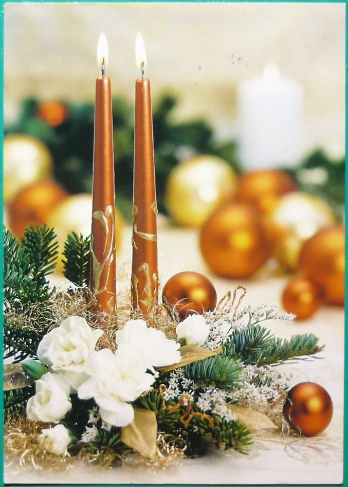 VÁNOČNÍ MOTIV / ozdoby, svíčky,věnec / - Pohlednice