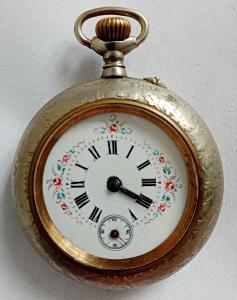 Kapesní hodinky stříbrné s malovaným ciferníkem funkční