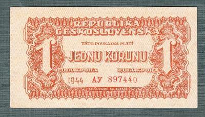 1 korun 1944 serie AY NEPERFOROVANA stav 0