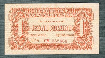 1 korun 1944 serie CM NEPERFOROVANA stav 1