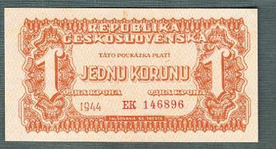 1 korun 1944 serie EK NEPERFOROVANA stav 1