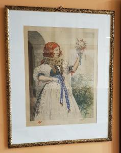 T.F.Šimon - Tavík Šimon - Hanácké děvče, bar.lept. 1932, výtisk č. 11!