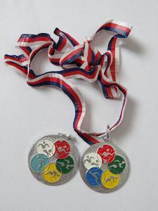 2x medaile, obecný kov.