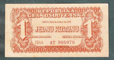 1 korun 1944 serie AT NEPERFOROVANA stav 1