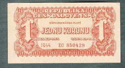 1 korun 1944 serie EC NEPERFOROVANA stav 0