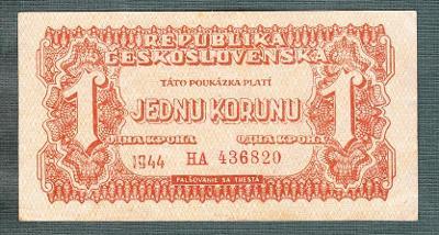 1 koruna 1944 serie HA NEPERFOROVANA stav 1
