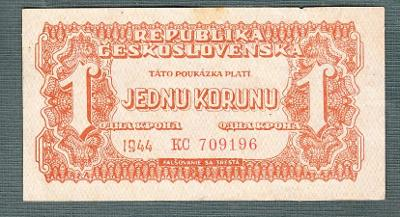 1 koruna 1944 serie KC NEPERFOROVANA stav 1