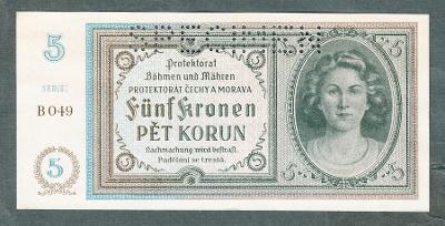 5 korun 1940 serie B049 perf.stav UNC