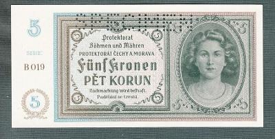 5 korun 1940 serie B019 perf. stav UNC
