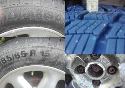 Zimní pneu 185/65 R15 Polaris 3 vzorek 8mm viz foto +AL ráfek 6x15