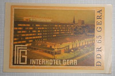 RETRO SAMOLEPKA - INTERHOTEL GERA - DDR 65