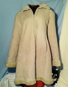 Semišový kabát s kožešinou YESSICA - IMITACE, vel 42