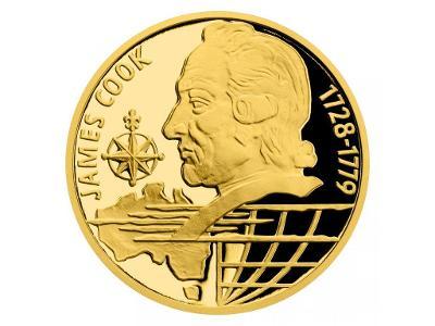 Zlatá čtvrtuncová mince Na vlnách - James Cook proof