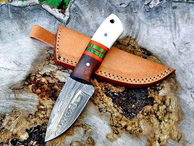 281/ Damaškový lovecky nůž. Rucni vyroba.