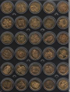 30 pamětních medailí s erby a znaky v kapslích - I. řada - mosaz