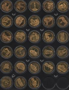 28 pamětních medailí s erby a znaky v kapslích - II. řada - mosaz
