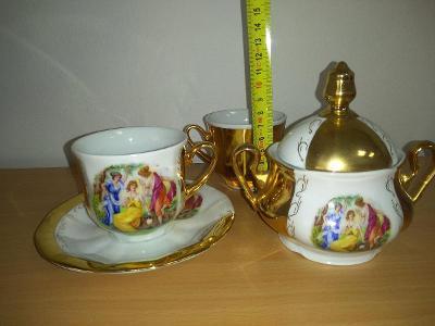 Starožitný porcelán Tři Grácie,silně zlacený velmi hezký jako nový.